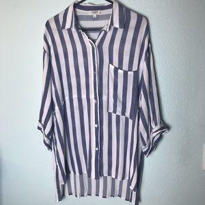Umgee Top | Blue & White Striped Tunic